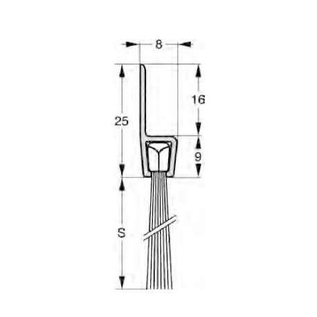 Uszczelnienie szczotkowe profil H5-25 1000 mm